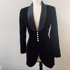 J.R Nites by Caliendo long Black velvet jacket 5/6